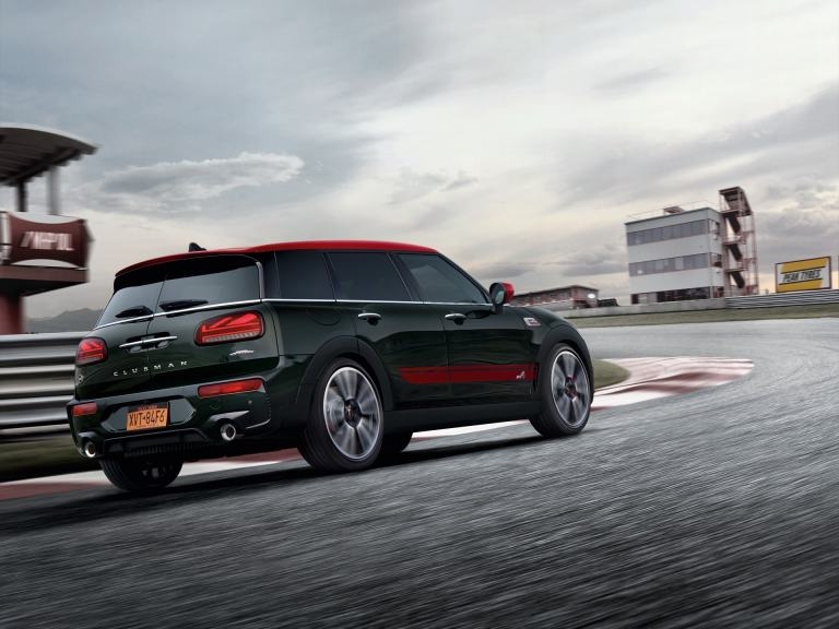 MINI John Cooper Works Clubman – green and red – side view